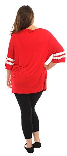 Chocolate Pickle® Neue Damen Plain gestreifte Baseball Sackartiges-T-Shirts,36-50 76 Brooklyn Red