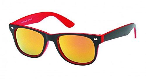 Chic-Net Sonnenbrille Wayfarer Nerdbrille verspiegelt 400UV außen schwarz innen farbig rot