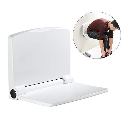 KNDJSPR Klappbarer Duschsitz zur Wandmontage Faltbarer Duschbankstuhl mit Feder und moderner glatter Oberfläche für zusätzlichen Schutz der Ruheeingänge - Weiß