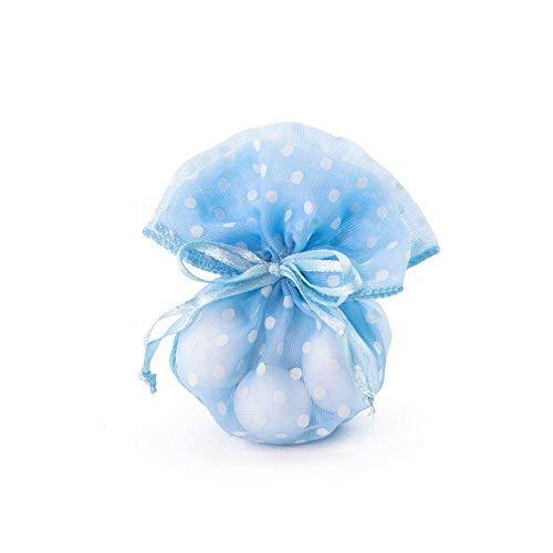 Takestop® sacchetti sacchetto organza pois colorati set 12 pezzi 10x13cm bomboniera bomboniere nascita matrimonio compleanno riso confetti regalo (set 12 pezzi, azzurro pois)