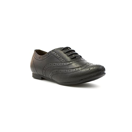 Lilley Womens Black Lace Up Brogue Shoe - Size 4 UK - Black