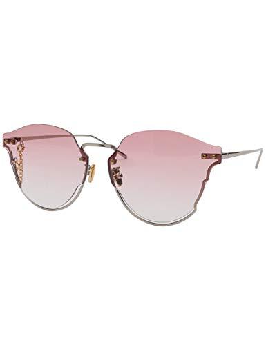 MOMOQU Sun Glasses Untere Rahmenhälfte Hohle Sonnenbrille Weibliche Gezeiten Transparente Farbige Brille Retro Super Große Rahmensonnenbrille Männliches Quadratisches Gesicht, C