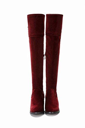 Mee Shoes Damen Reißverschluss chunky heels langschaft Stiefel Weinrot