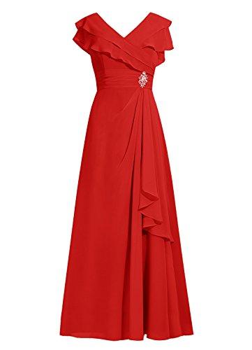 Dresstells, robe de demoiselle d'honneur, robe longue de soirée, robe de cérémonie, tenue de soirée Rouge