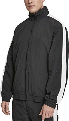 Urban Classics Herren Striped Sleeve Crinkle Track Jacket Jacke, Schwarz (Blk/Wht 00050), Medium (Herstellergröße: M) -