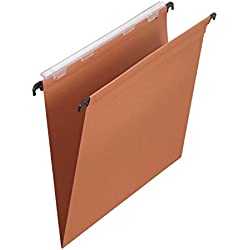 L'Oblique AZ Boîte de 25 dossiers suspendus tiroir fond V kraft orange