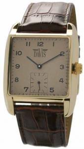 Davis 1411 Unisex Analog Quartz Steel Watch with Brown Leather Strap