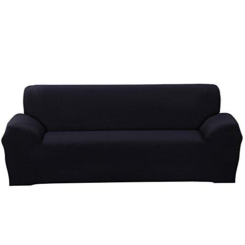 Sofa Überwürfe Sofabezug stretch elastische Sofahusse Sofa Abdeckung in verschiedene Größe und Farbe (4 Sitzer für Sofalänge 230-300cm, Schwarz)