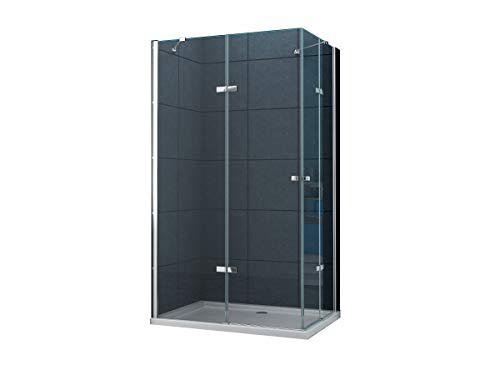 duschtrennwand eckeinstieg Eckeinstieg Duschkabine Dusche MONETT 90 x 75 x 195cm / 8 mm/ohne Duschtasse