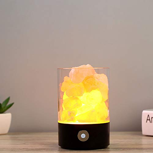 HHCC Nachtlicht-Himallampe, Portable Natural Pink Crystal Treatment Rock, Multifunktionale Negative Ion Air Purifier, Design und USB Button LED Light Bedroom Office,Black -