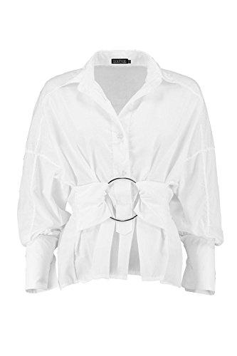 Femmes blanc Ella Chemise À Grands Revers Et Ceinture Nouée Blanc