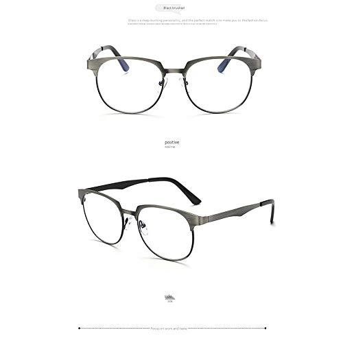 Y-PLAND Brille Brillengestell Metallbox Flachspiegel klassische blaue Brille kann mit Brillengestell, schwarz gebürstet, ausgestattet werden