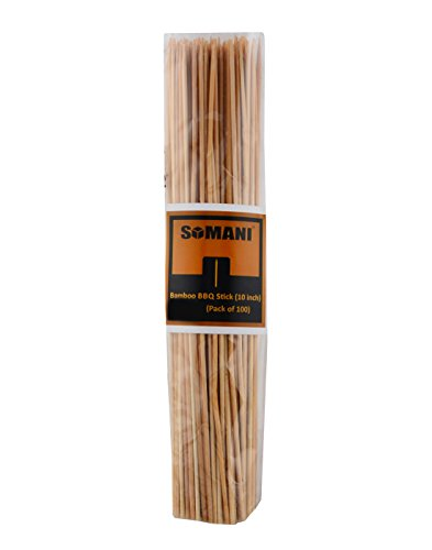 Somani bamboo BBQ sticks/kebab sticks/wooden skewers/fruit/roasting pick 10 inches (Pack of 100)