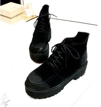 &ZHOU Bottes d'automne et d'hiver Bottes courtes pour femmes adultes Martin bottes Chevalier bottes a-0 Black