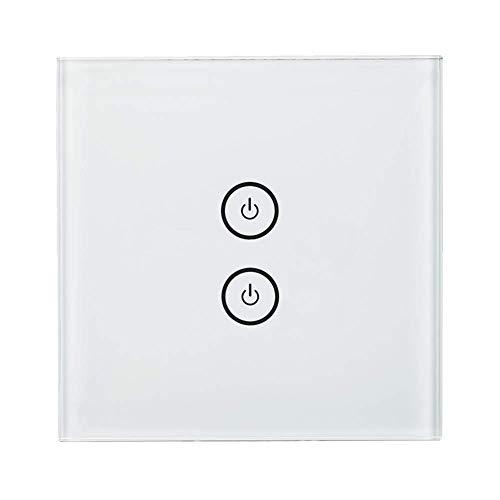 Meross WLAN Smart Lichtschalter WiFi Funk Touchscreen 2 Gang Wandschalter mit App Fernsteuerung, kompatibel mit Alexa, Google Home und IFTTT, MSS520HEU(Neutraler Draht und 2,4 GHz WLAN benötigt!)