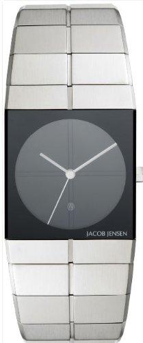 Jacob Jensen 210 - Reloj analógico de Cuarzo para Hombre, Correa de Acero Inoxidable Color Plateado