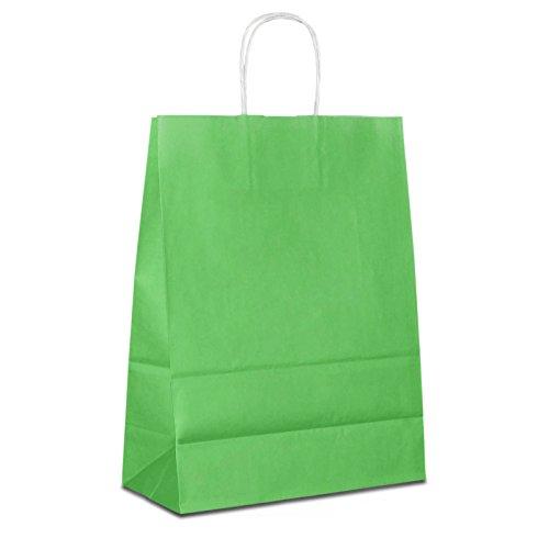 50 x Papiertragetaschen grün 32+12x41 cm | stabile Papiertüten farbig | Papierbeutel Kordelhenkel | Papiertaschen Mittel | Beutel | HUTNER -