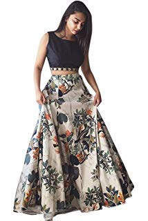 D FASHION GALLERY'S Women's bangalori satin Long Skirt Gown And Top