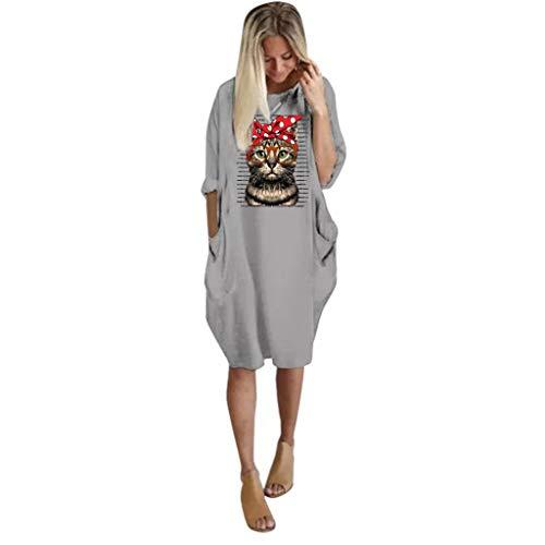 Für Chef Kostüm Erwachsene Plus - OIKAY Plus Größe Damen Tasche Lose Rock Damen Rundhalsausschnitt Casual Lange Oberteile Kleid