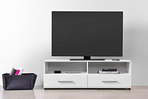 qovi9 fabriqs 'der Entertainer' TV Schrank, TV Board, Lowboard, Fernsehtisch, Fernsehschrank in Weiß Hochglanz mit Schubladen & Fächern, 120x45x40 cm (B/H/T), Made IN Germany!