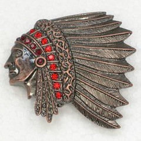 Rosso Cristallo Strass Rame antico placcato indiani Chief Testa Spilla