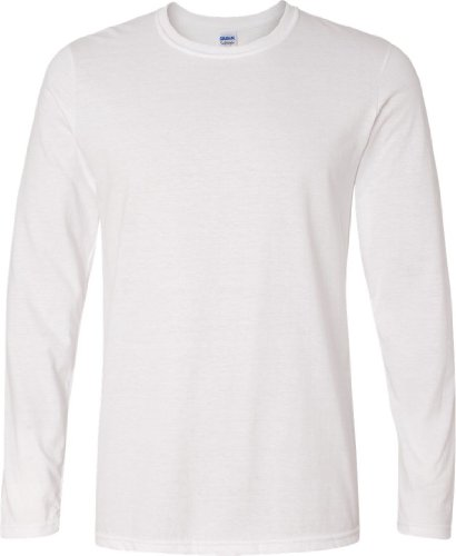Gildan 64400 Mens Long Sleeve Softstyle T-Shirt Tee White