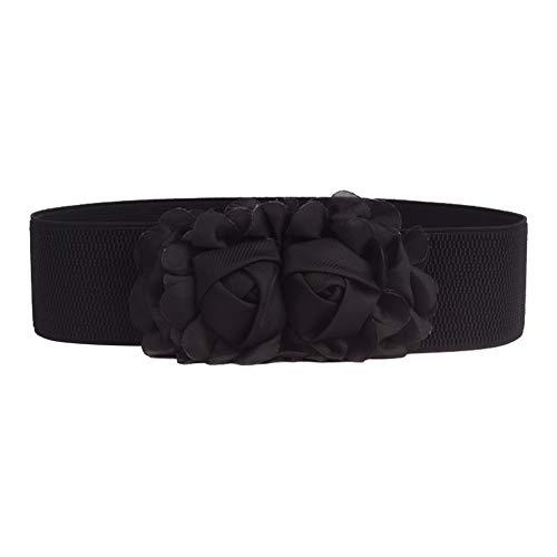 Emorias 1 Pcs Cinturon de Mujer Gasa Rosa Elastico Correas Lindo Ancho Niña Boda Elegante Fiesta Falda Ropa Accesorios - Negro
