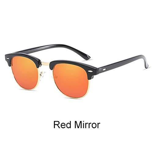 QDE Sonnenbrillen Retro Sonnenbrille Männer Frauen Rivet Square Uv400 Schwarz Farbige Sonnenbrille Männliche Sunglases, Roter Spiegel