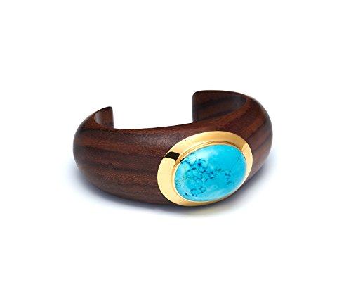 The Branch-Bracciale in legno di palissandro Crescent, taglia media, colore: blu con pietra Howlite Set di 8 cm, colore: oro