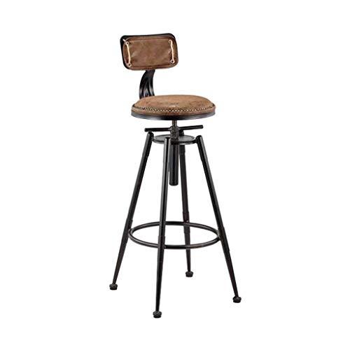 WOLL_Q Tabouret de bar pivotant Cuisine en métal Industriel Style Vintage Dossier Repose-pied Petit-déjeuner Table de salle à manger Comptoir Grandes chaises Pub Café Hauteur réglable 98-120cm
