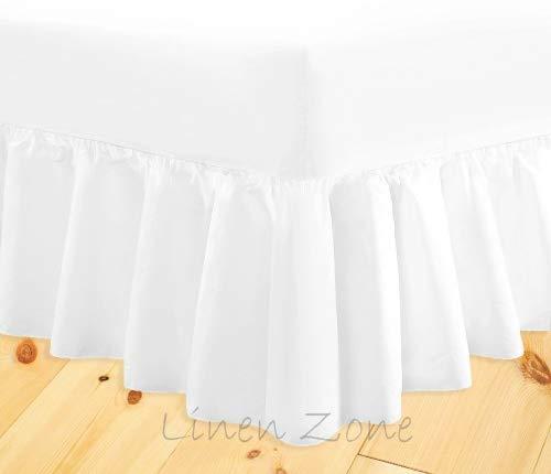 Linen Zone, lenzuolo a balza mantovana di qualità, non si stira, di facile manutenzione,, White, Doppio