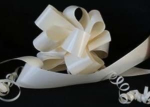 Kit voiture de mariage Nœud à tirer Crème 50 mm + Ruban de fleuriste Crème 6 m x 50 mm Idéal pour les voitures de mariage.