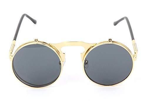 WSKPE Sonnenbrille,Metallrahmen Brille Runde Flip Sonnenbrille Gold Frame Graue Linse