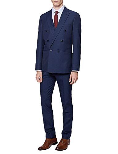 FRANK Herren Anzug Slim Fit Zweireiher 3-teiliger Anzug Blazer Kleid Geschäft Hochzeitsfest Jacke Weste & Hose
