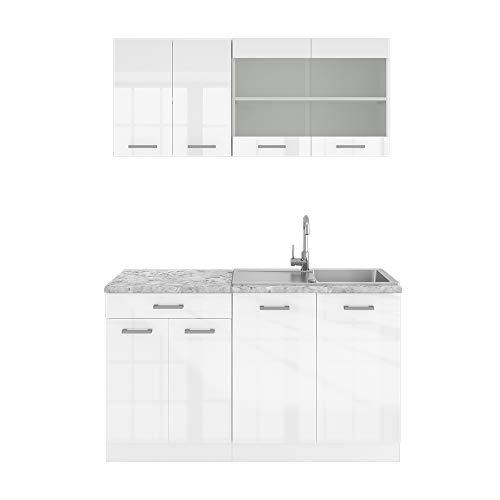 Vicco Küchenzeile Single Einbauküche 140 cm Küchen Hochglanz R-LINE (Weiß Hochglanz)
