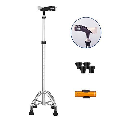 Cane Crutch Verstellbarer Big Quad Cane Leichte Spazierstöcke Gehstock für Männer und Frauen Handkrücke mit T-Griff Krücken mit LED-Licht,Silver - Quad Cane Faltbare