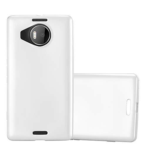 Cadorabo Hülle für Nokia Lumia 950 XL - Hülle in METALLIC Silber – Handyhülle aus TPU Silikon im Matt Metallic Design - Silikonhülle Schutzhülle Ultra Slim Soft Back Cover Case Bumper