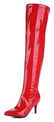 SHOWHOW Damen Overknee Langschaft Stiefel Stiletto Lack Schaftstiefel Weiß 33 EU PnqHH6Xc