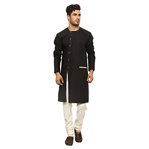 Color Opera Kreation Cotton Men Solid Black Kurta _ZTWMKURTA2_07-XL)