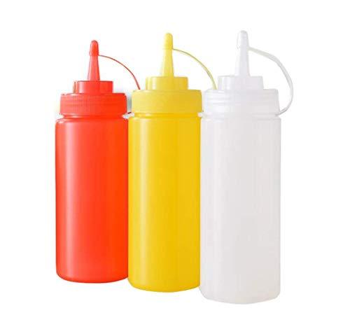 3 pezzi, bottiglie da spremere per condimenti, senape, in plastica, per salse, ketchup, con tappo a vite, per uso domestico e in cucina