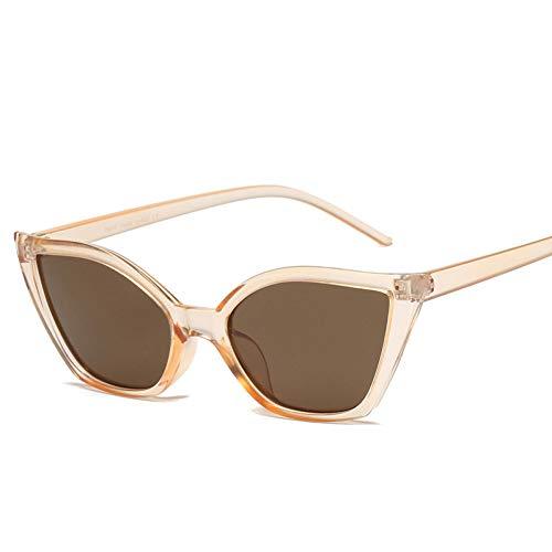 Chudanba Kleine cat Eye Sonnenbrille Frauen Marke Brillen Rahmen promi Damen Vintage Sonnenbrille klar,4