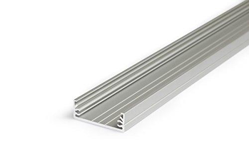 2m Profilo In Alluminio wide24(Wi) 2metri Barra Profilo In Alluminio Anodizzato per strisce LED, bianco (Opal) Guide per-Set inkl Cover opaca satinato-Frosted trasparente trasparente con kit di mollette ed estremità, Alluminio, transparent-klar, transparent slide - Meter Staffa