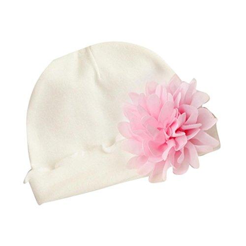 LuckyGirls Weiche Mütze Baby Mädchen Neugeborenes Infant Kleinkind GroßE Blume Baumwolle Hut (Weiß)