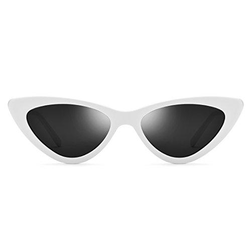 FENXI Damen Vintage Small Frame Sonnenbrille Dreieckige Brille Vintage Cat-Eye Sonnenbrille (Farbe : White Frame/Gray Lens)