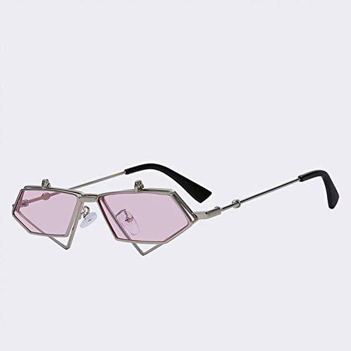 Shihuam New Unregelmäßige Kurve Metallrahmen Retro Sonnenbrille Frauen Punk Brille Männer Sonnenbrille,6