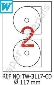 Tanex-3117DVD/CD/Blu-ray Etichette multimediale bianco 117mm 500Bl. (Getto D'inchiostro Bianco Cd Dvd Etichette)