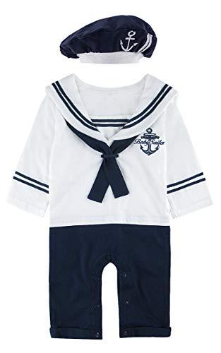 MOMBEBE COSLAND Baby Jungen Matrose Kostüm Strampler mit Hüte Langarm (12-18 Monate/100 UK, ()