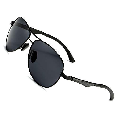 LEDING&BEST Sonnenbrillen polarisierte für Herren Damen Draussen Sportarten,Metall Rahmen Sport Fahrbrille Shades für Radfahren Baseball Trekking Sonnenbrille (Black)