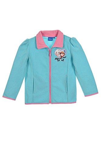 Disney Frozen - Die Eiskönigin Kinder Jacke Fleecejacke Kinderjacke Oberteil für Mädchen (1018) mit ELSA und Anna Motiv, blau, Gr. 110 Disney Fleece-sweatshirt