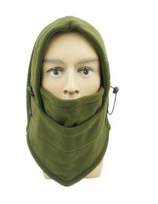 5 cinq Winter Sports de plein air au vent chaud Polaire Capuche Full Face Coque Masque Chapeau green